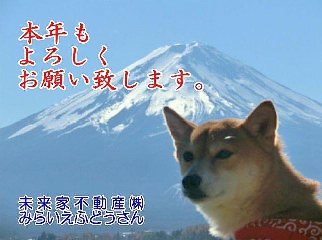 富士山を背景に本年もよろしくお願い致しますと言っている犬