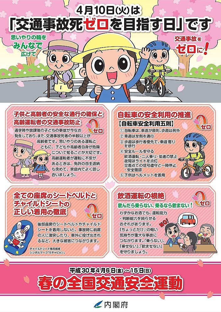4月10日(火)は交通事故死ゼロを目指す日のポスター