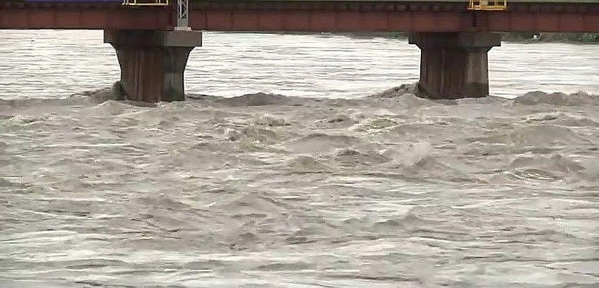 台風や活発な梅雨前線などによる大雨で増水した加古川