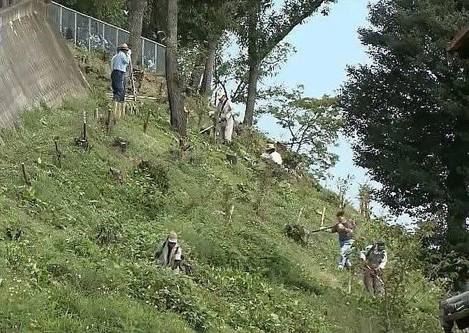 宮山農村公園を守っている地元の町村会の人々