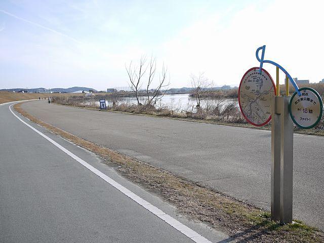 高砂海浜公園から志方東公園までの、サイクリングコース、加古川右岸自転車道。