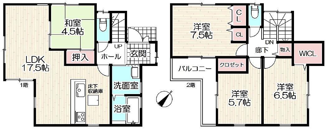 建物面積97.60平方メートル(29.52坪)4LDKの間取の加古川市神野町石守新築一戸建