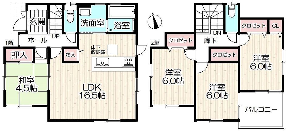 加古川市野口町長砂新築一戸建て第12の間取り図です