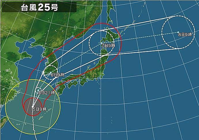 台風25号は6日に近畿地方に最接近する予定です。