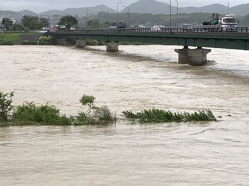 危険氾濫水位に到達した一級河川の加古川