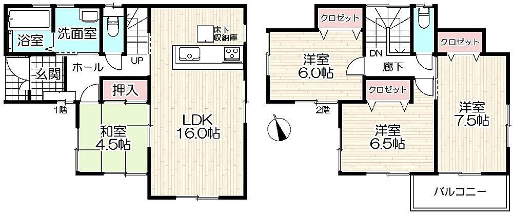 加古川市平岡町新在家新築一戸建て第17の間取です