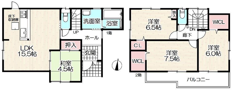 加古川市平岡町新在家新築一戸建て(F)第16の間取です