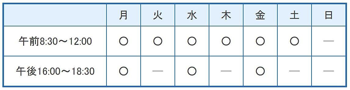 大西医院(加古川市平岡町)の診療時間