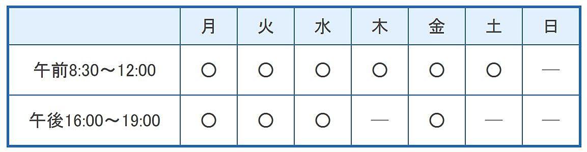 笠井医院の診療時間