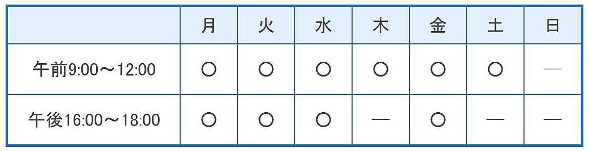 衣川小児科の診療時間