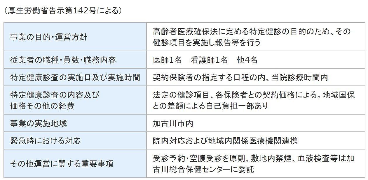 特定健診受託運営規定概要(高嶋内科)