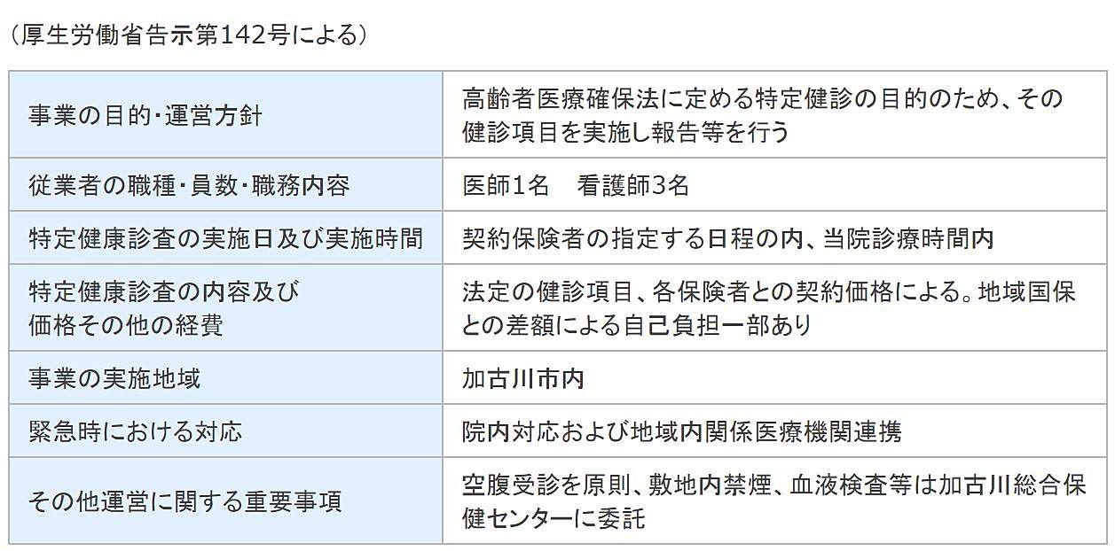 特定健診受託運営規定概要(玉川医院)
