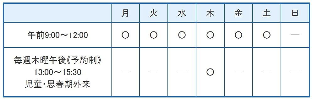 東加古川病院の診療時間