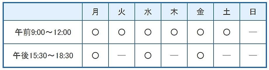 平井内科クリニックの診療時間