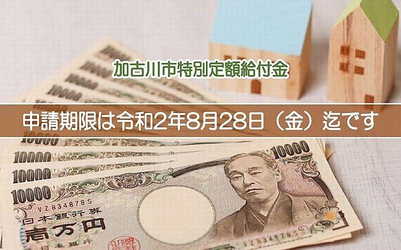 加古川市の特別定額給付金の申請期限が迫っています!令和2年8月28日(金)迄です!