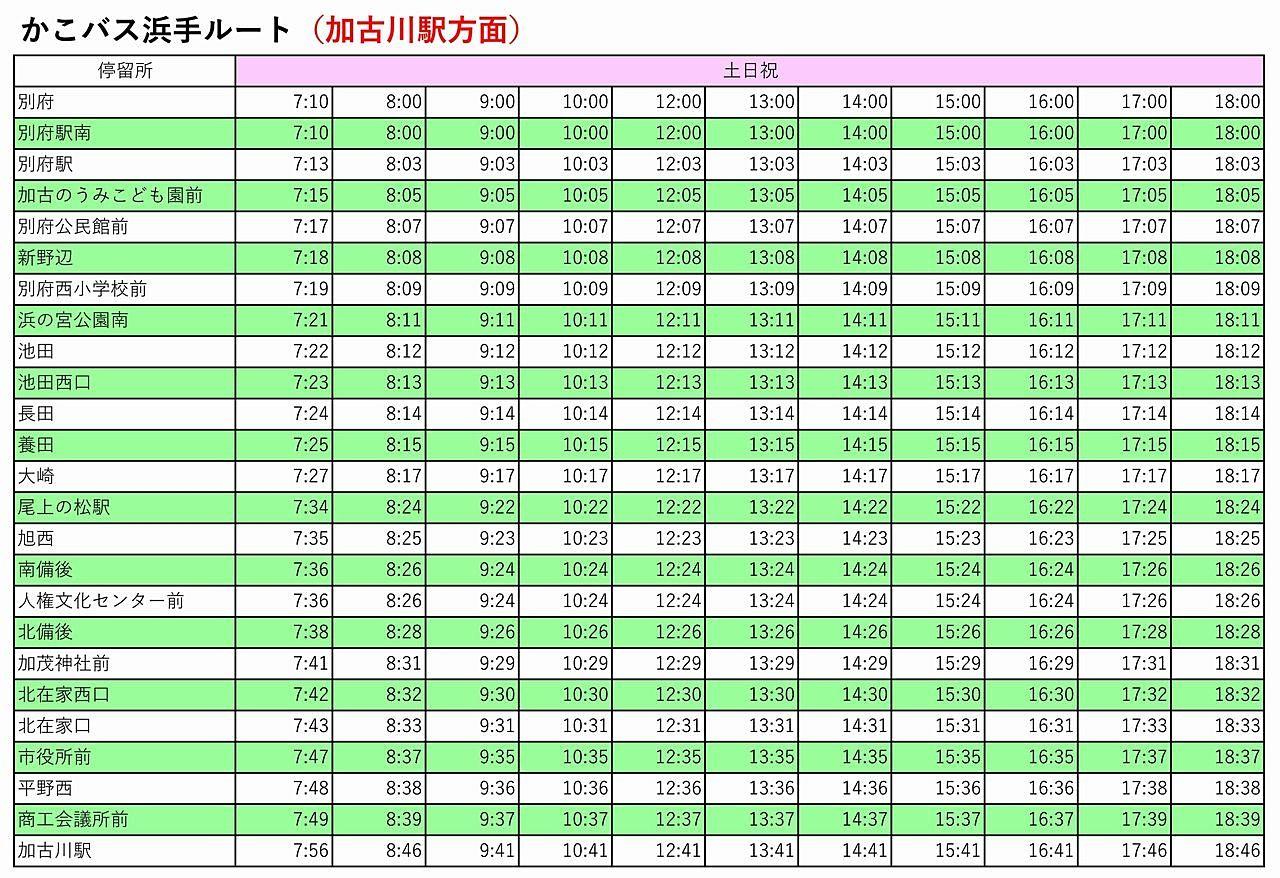 かこバス「浜手ルート」時刻表 加古川駅方面(土日祝)