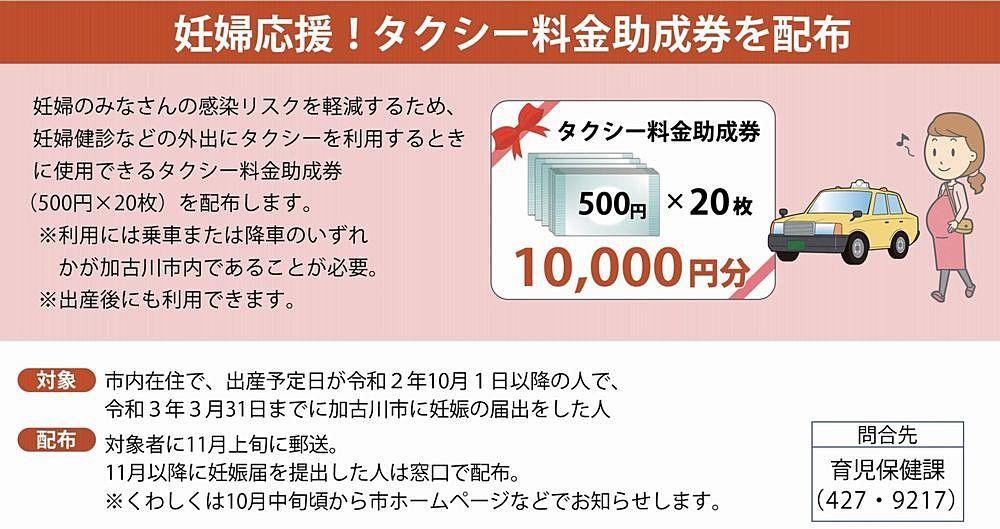 妊婦さんに1万円分のタクシー助成券