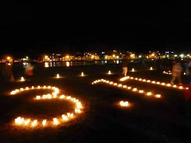 東日本大震災 3.11を象った蝋燭の燈火。