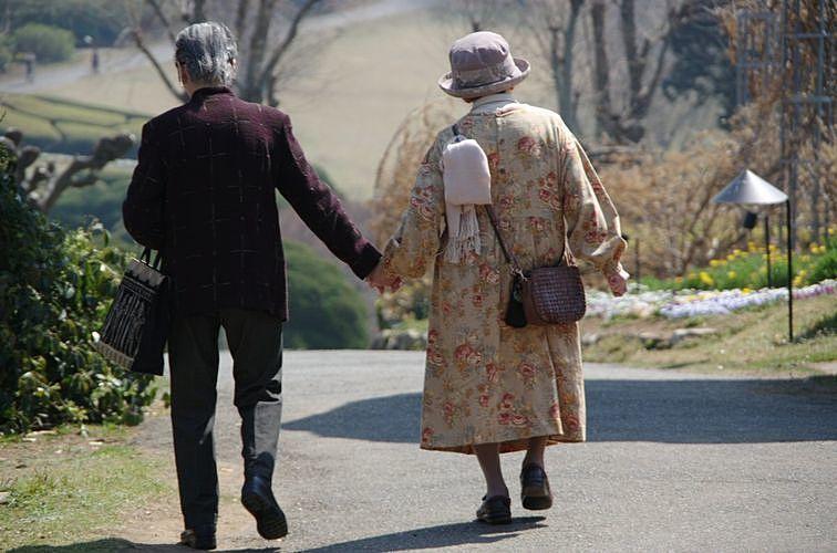 年老いた夫婦が歩く後姿。