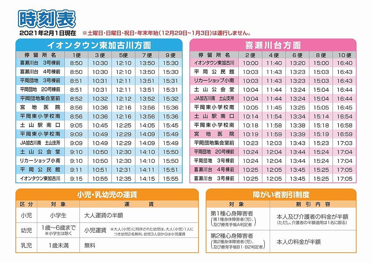 かこバスミニ「平岡東ルート」時刻表