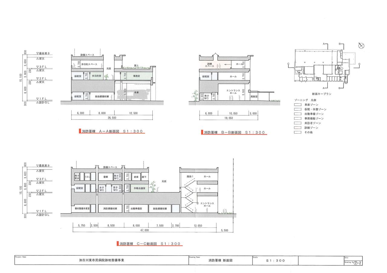 消防署棟 断面図 加古川東市民病院跡地整備事業