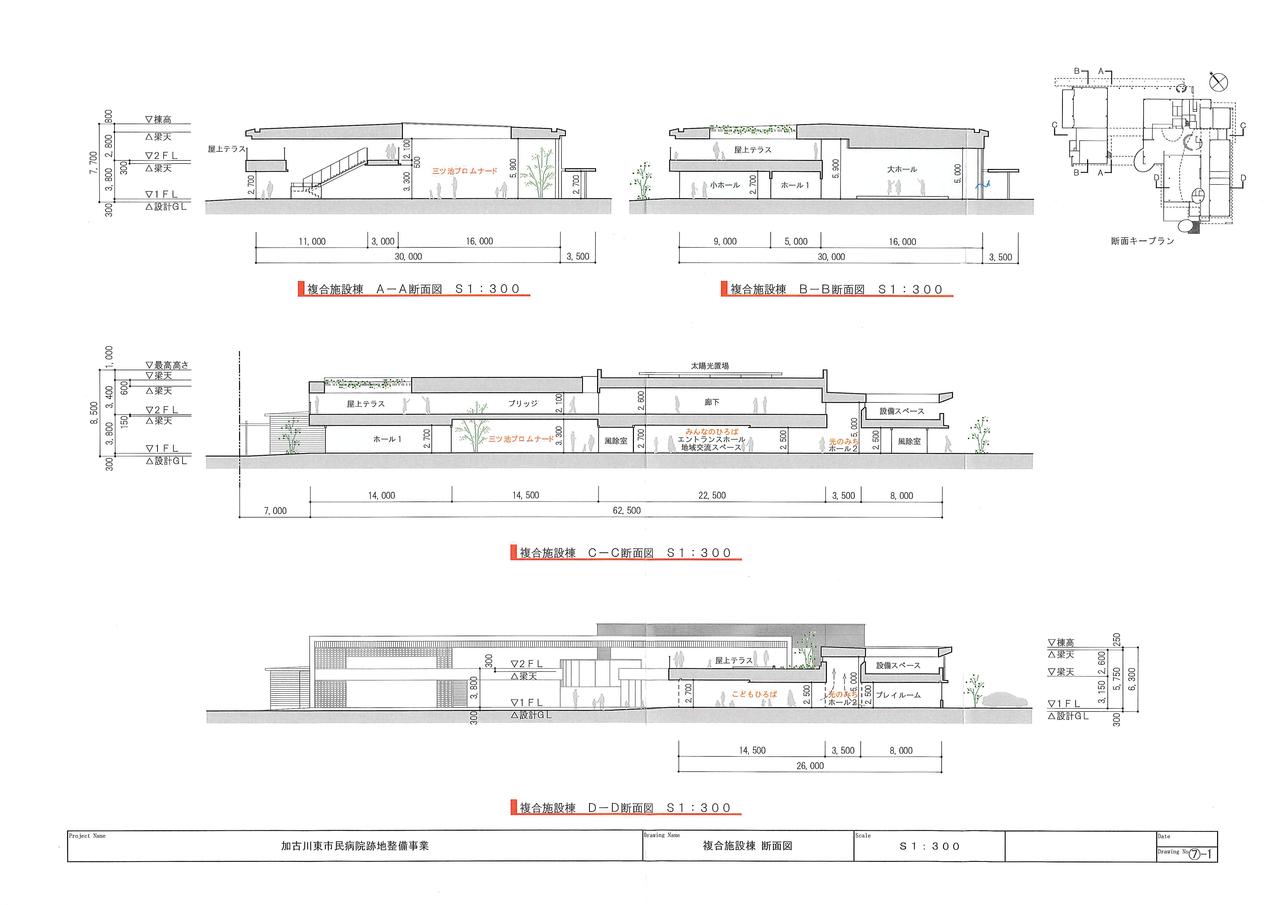 複合施設棟 断面図 加古川東市民病院跡地整備事業