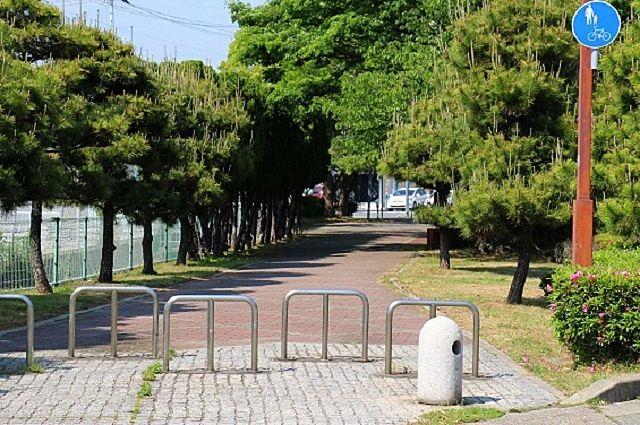 黒松とツツジが調和よく植えられた松風こみち。