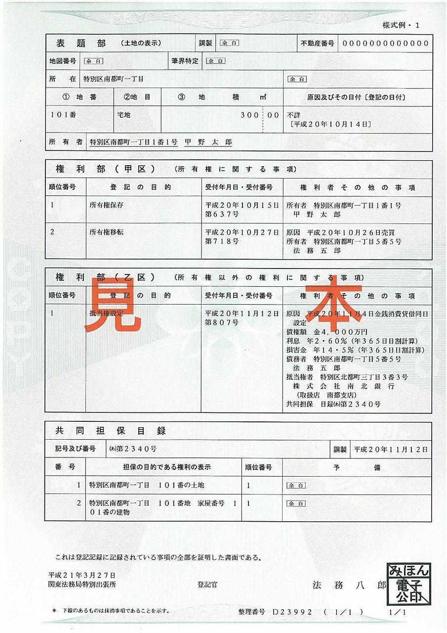 登記事項証明書の記載内容とは?