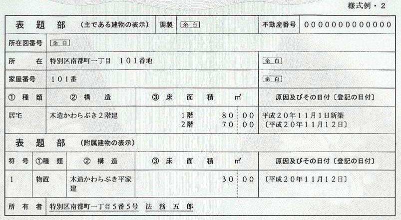 登記事項証明書の表題部(建物の表示)