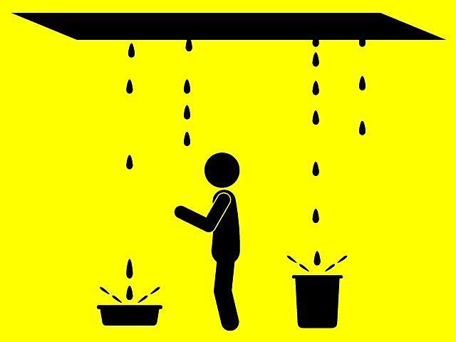 天井から雨漏りがしているイラスト