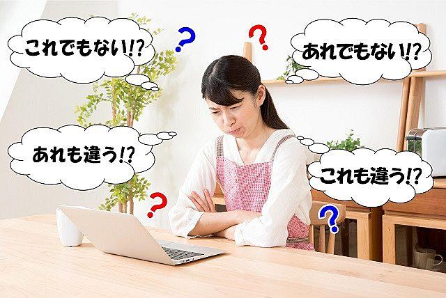 ポータルサイトを見ながら悩んでいる奥様。