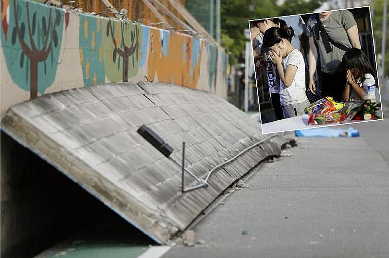 大阪北部地震で倒れたコンクリートブロック塀。