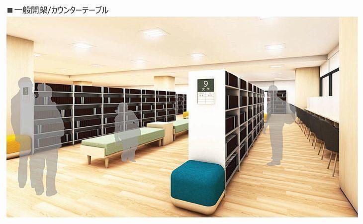 新しい加古川図書館の一般開架~カウンターテーブル