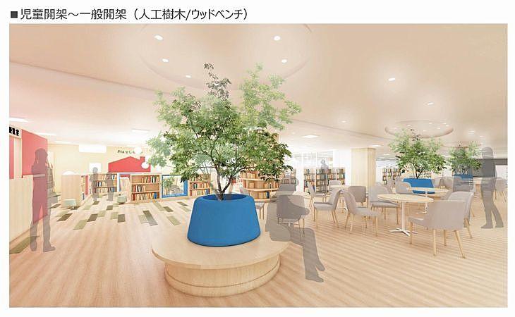 新しい加古川図書館の児童開架~一般開架