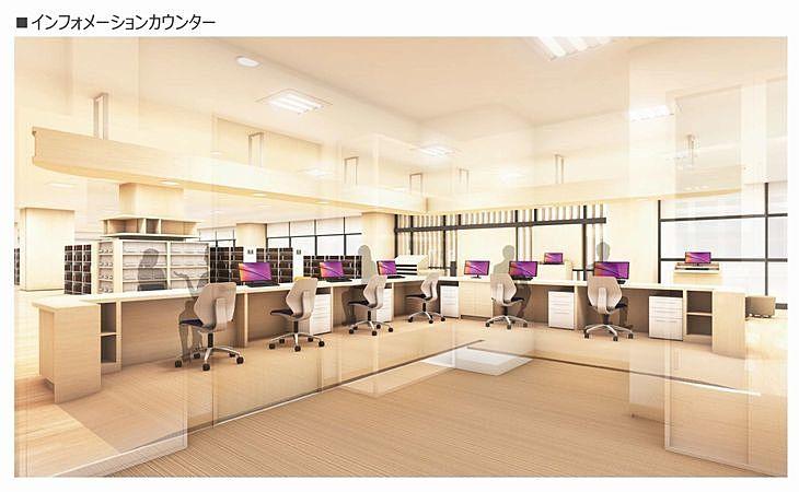 新しい加古川図書館のインフォメーションカウンター