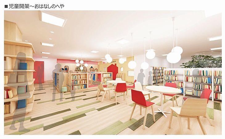 新しい加古川図書館の児童開架~おはなしのへや