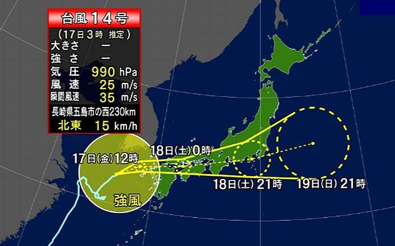 台風第14号の接近にともなう加古川市からのお知れせです